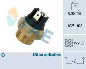 FAE 37410 - Interruptor de temperatura, ventilador del radiador / aire acondicionado superrecambios.com