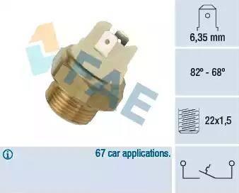 FAE 37050 - Interruptor de temperatura, ventilador del radiador / aire acondicionado superrecambios.com