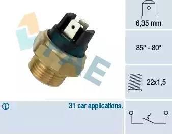 FAE 37390 - Interruptor de temperatura, ventilador del radiador / aire acondicionado superrecambios.com