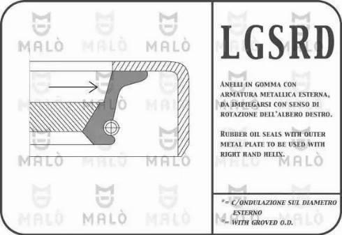 Malò 1116RDAC - Anillo retén, caja de cambios superrecambios.com