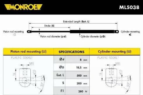 Monroe ML5038 - Muelle neumático, maletero/compartimento de carga superrecambios.com