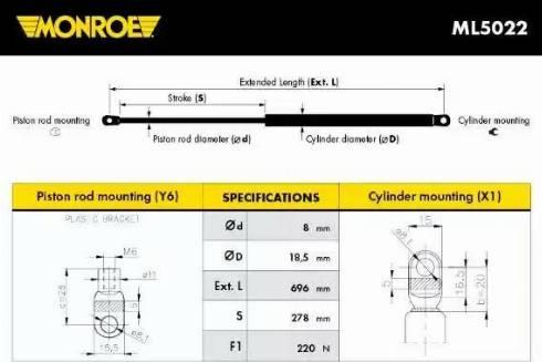 Monroe ML5022 - Muelle neumático, maletero/compartimento de carga superrecambios.com