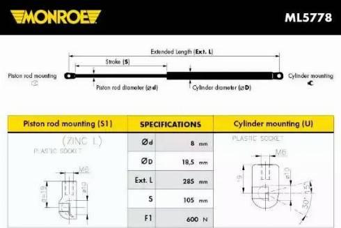 Monroe ML5778 - Muelle neumático, maletero/compartimento de carga superrecambios.com