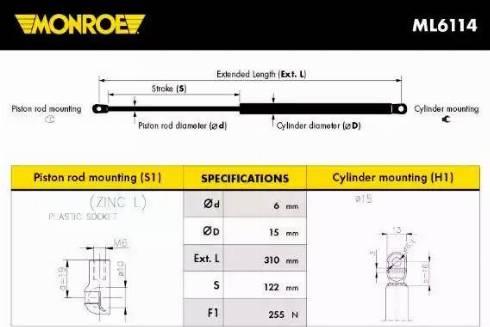 Monroe ML6114 - Muelle neumático, Cristal trasero superrecambios.com